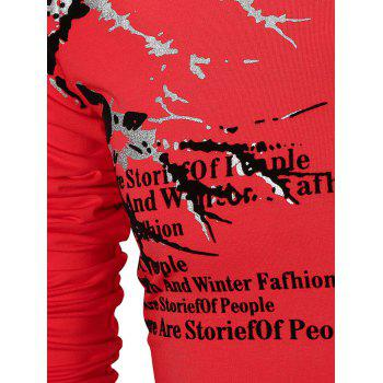 Notch Neck Letter Print Casual T-shirt - RED XL