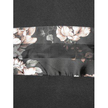 Flower Panel Round Neck T-shirt - BLACK L
