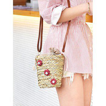 Flower Decorated Leisure Holiday Straw Crossbody Bag - RUBY RED