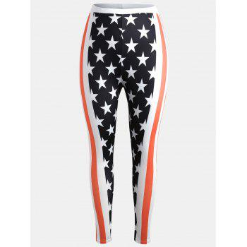 Plus Size American Flag Print Leggings - FIRE ENGINE RED 1X