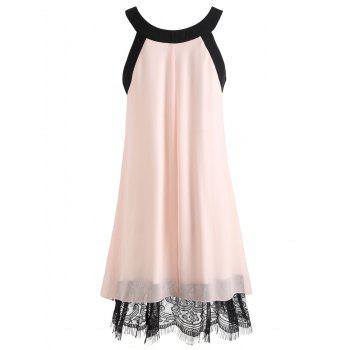 Lace Hem Chiffon Shift Dress - PINK BUBBLEGUM XL