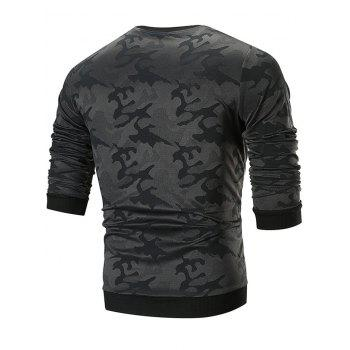 Sweat-shirt Camouflage Applique à Col Rond - Noir M