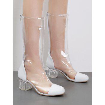 Transparent Block Heel Chic Mid Calf Boots - WHITE 36