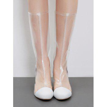 Transparent Block Heel Chic Mid Calf Boots - WHITE 39