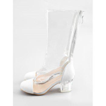 Transparent Block Heel Chic Mid Calf Boots - WHITE 37