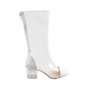 Transparent Block Heel Chic Mid Calf Boots - WHITE 40