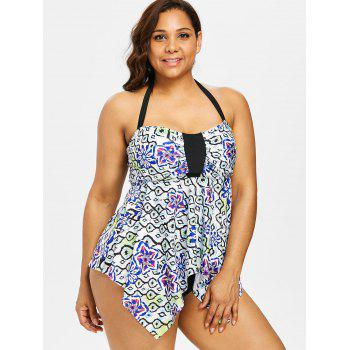 Asymmetrical Printed Halter Tankini Set - multicolor 2X