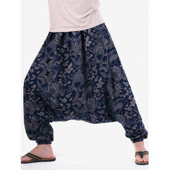 Retro Flower Print Casual Harem Pants - GRAY DOLPHIN ONE SIZE