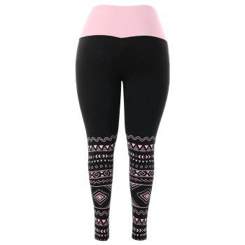 Plus Size High Waisted Two Tone Leggings - BLACK L
