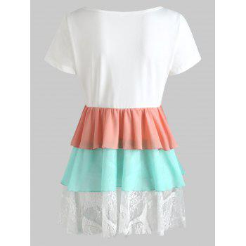 Color Contrast Chiffon Panel Smock Top - WHITE S