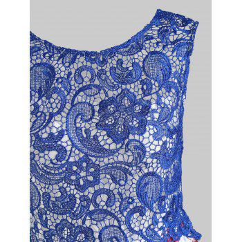 Sheer Lace Fit and Flare Flower Dress - BLUE M