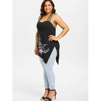 Plus Size Floral Side Split Halter Tank Top - BLACK 2X