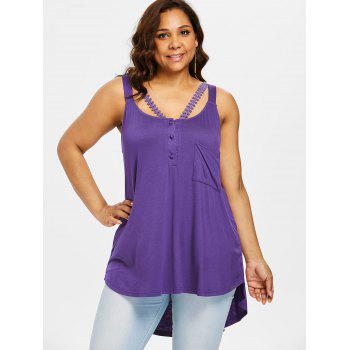 Plus Size High Low Hem Henley Tank Top - VIOLET L