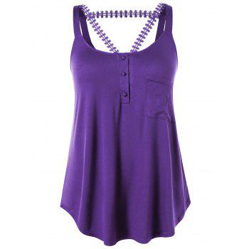 Plus Size High Low Hem Henley Tank Top - VIOLET 2X