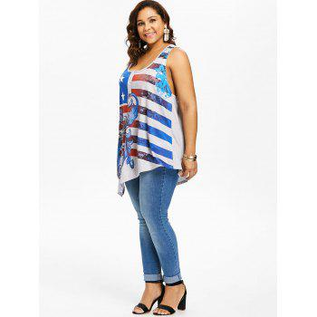 Plus Size American Flag Asymmetric Tunic Tank Top - GRAY 5X