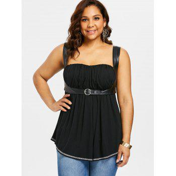 Plus Size Square Neck Curved Tank Top - BLACK 1X