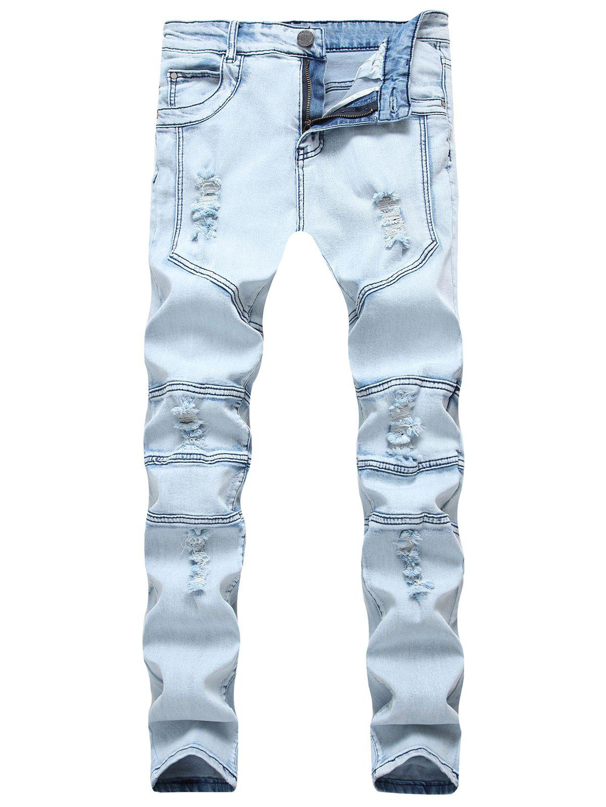 Splicing Ripped Skinny Stretch Denim  Biker Jeans - DENIM BLUE 38