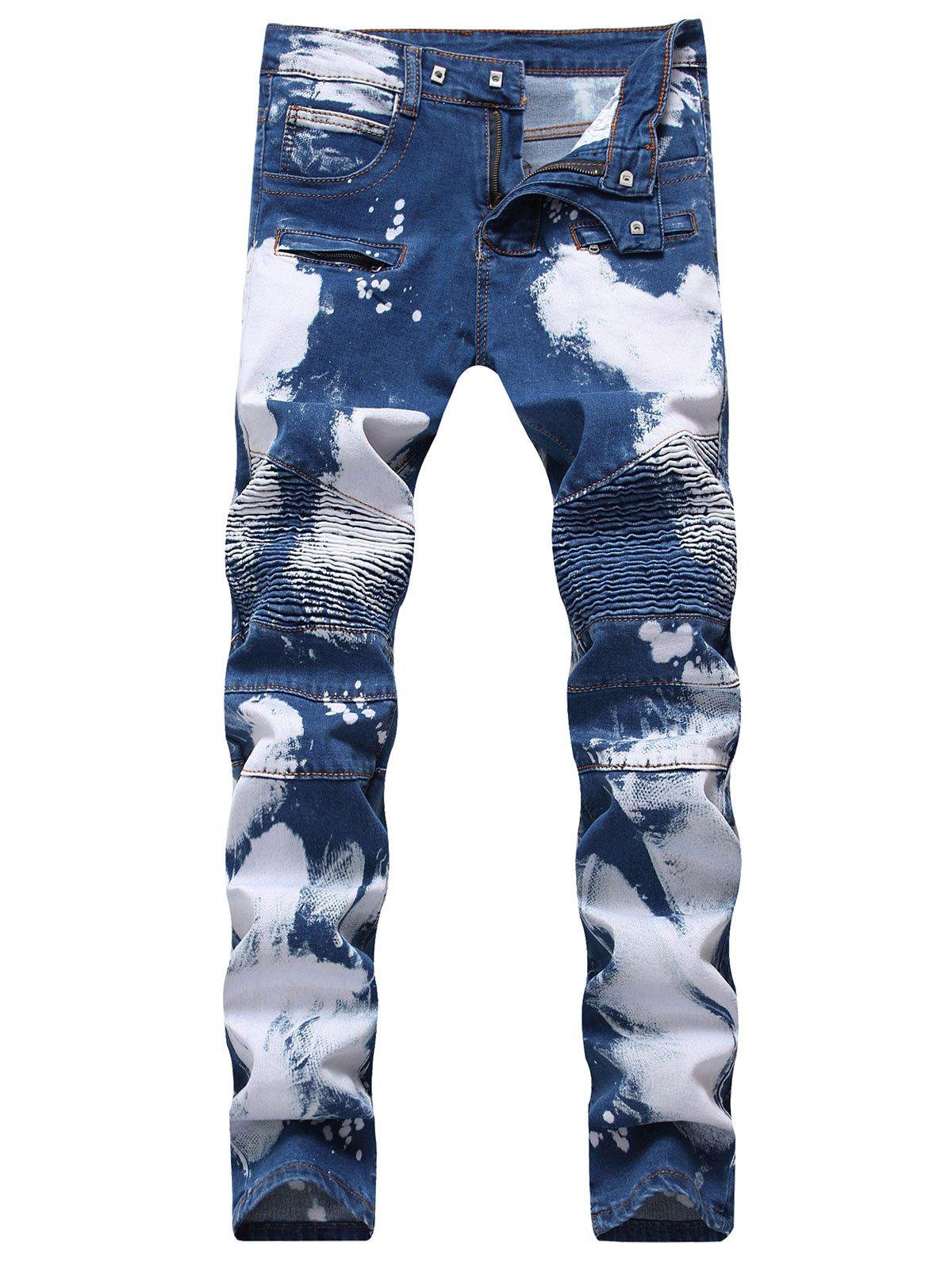 Hook Button Paint Splatter Print Straight Leg Jeans - DEEP BLUE 36