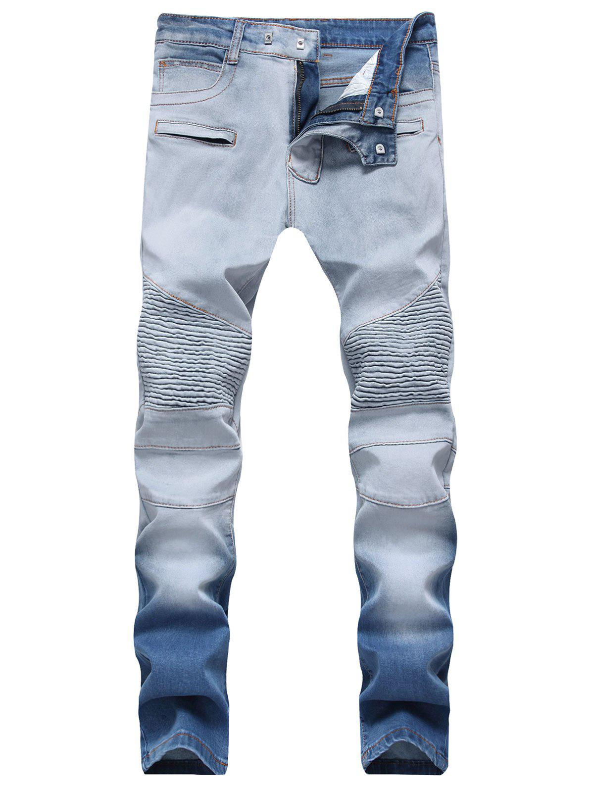 Hook Button Straight Leg Distressed Biker Jeans - JEANS BLUE 36