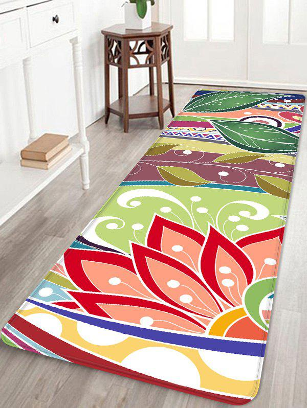 Lotus Flower Leaf Printed Coral Fleece Floor Rug - multicolor W16 INCH * L47 INCH