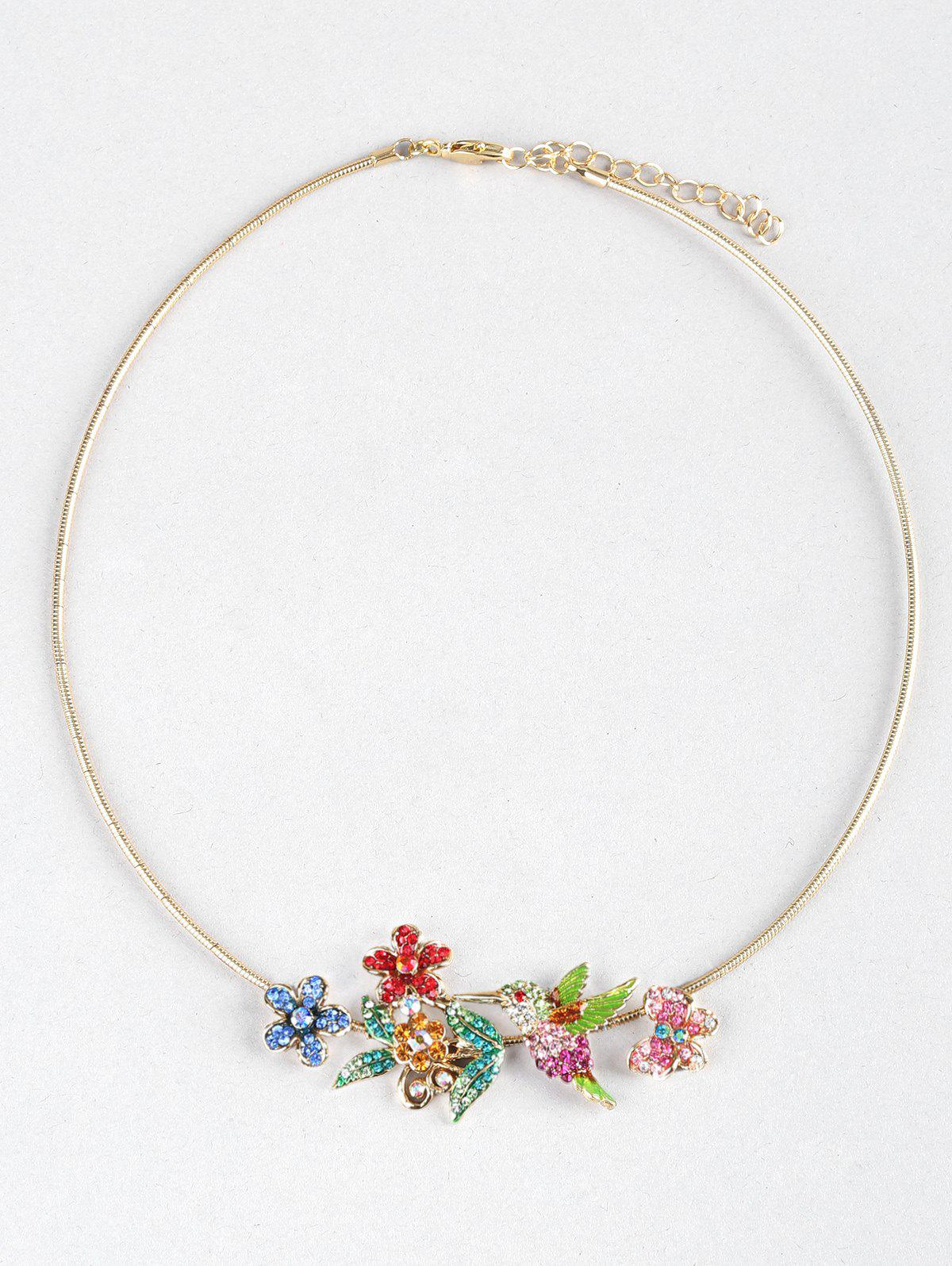 Flowers Birds Butterfly Decoration Collar Necklace - multicolor