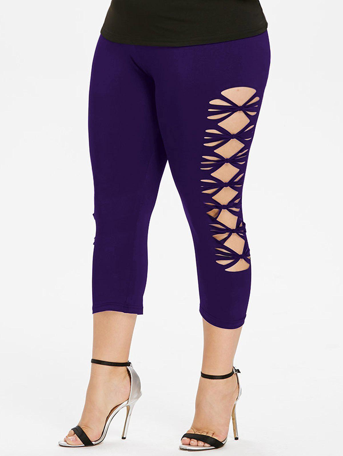 Plus Size Cut Out Cropped Leggings - PURPLE IRIS 3X