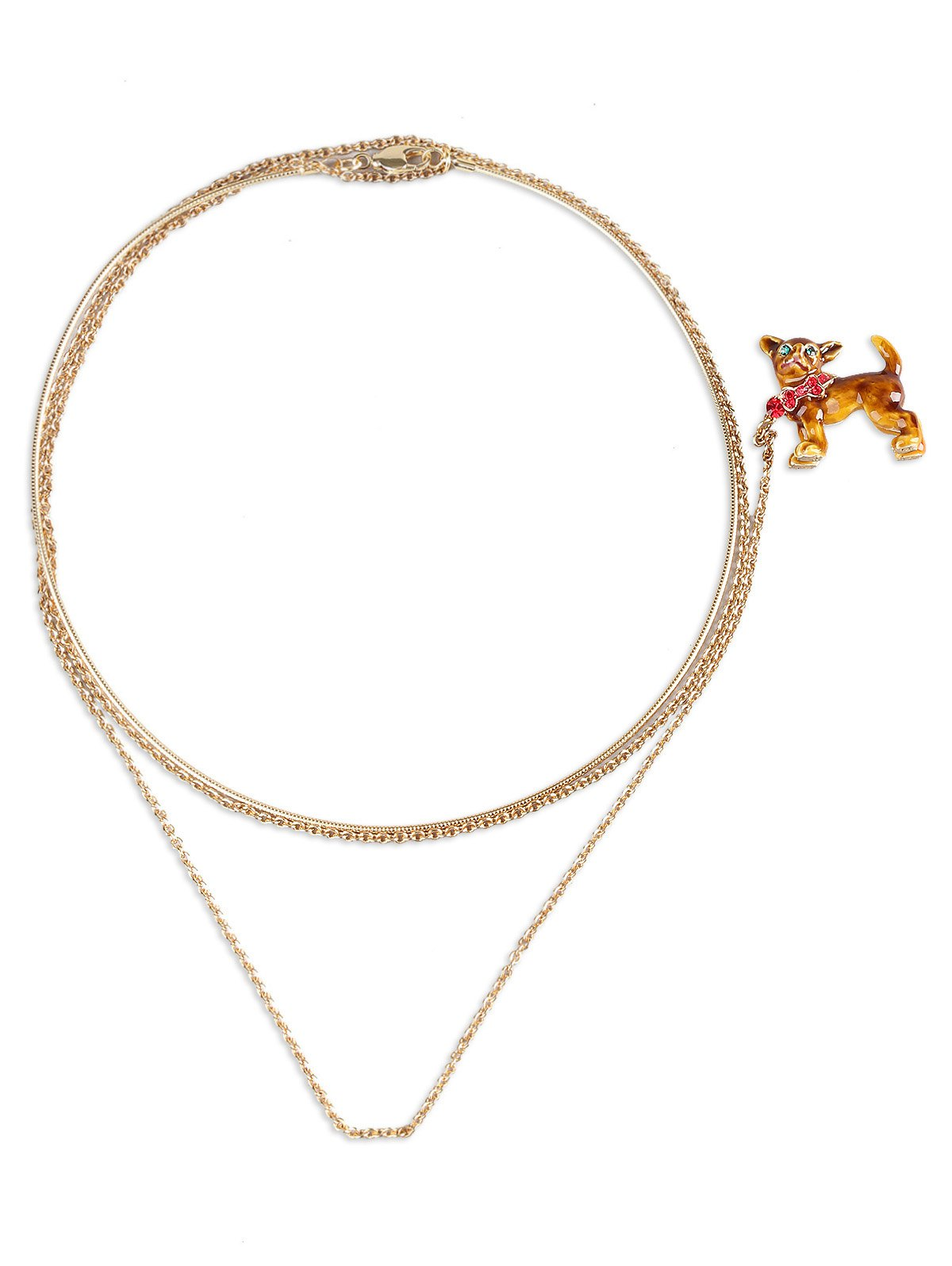 Dog Shaped Brooch with Collar Necklace - CARAMEL