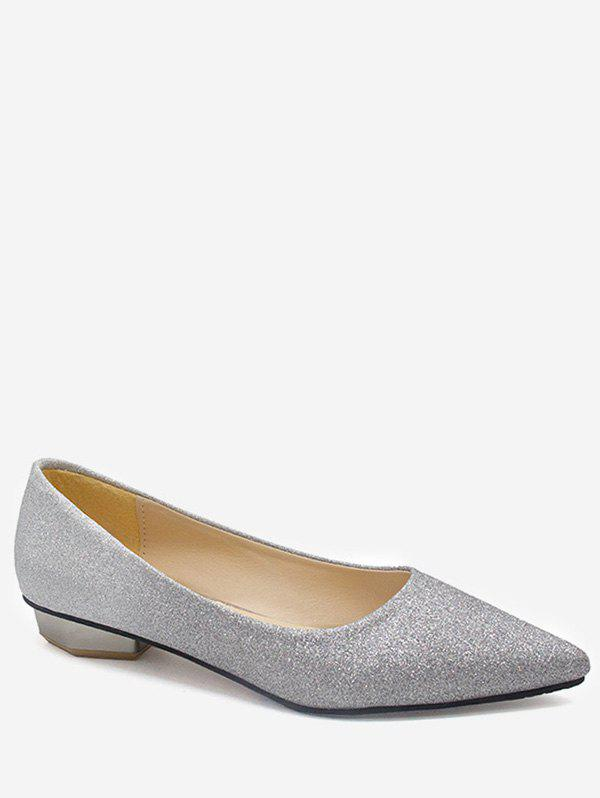 Shimmering Crystals Pointed Toe Vintage Flats - GRAY 37
