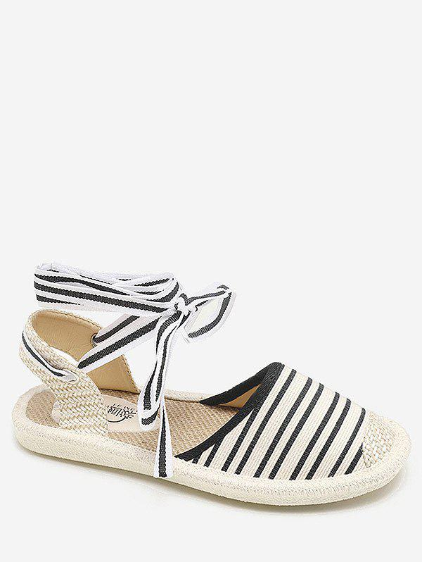 Striped Espadrille Flat Heel Casual Fisherman Shoes - BLACK 39