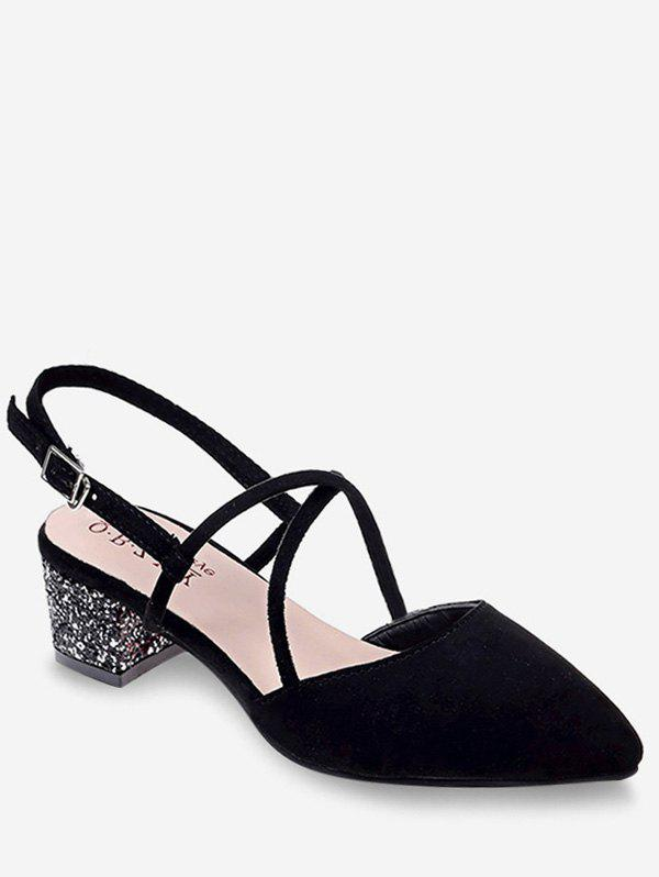 Crisscross Pointed Toe Chunky Heel Slingback Sandals - BLACK 35