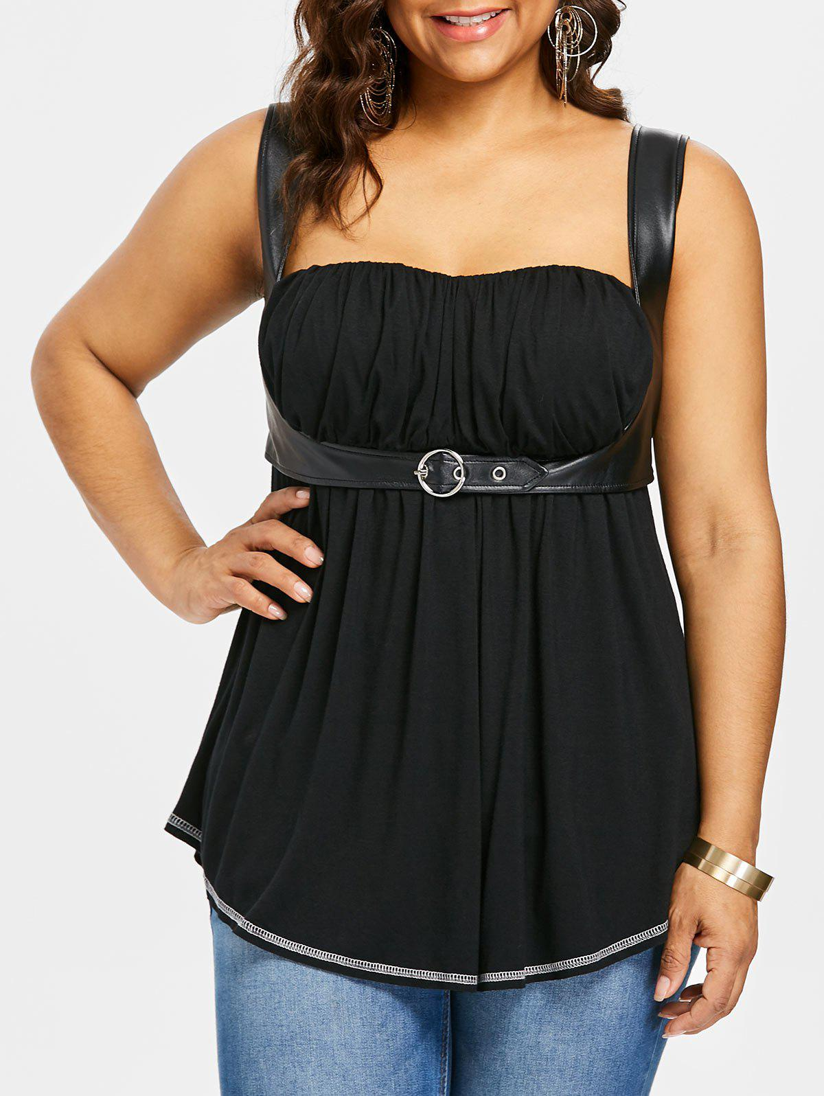 Plus Size Square Neck Curved Tank Top - BLACK 3X