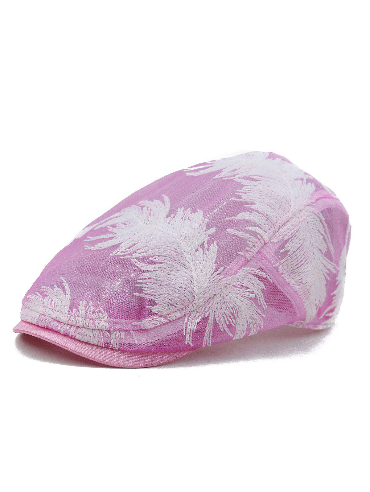 Unique Feather Decorated Newsboy Cap, Cadillac pink