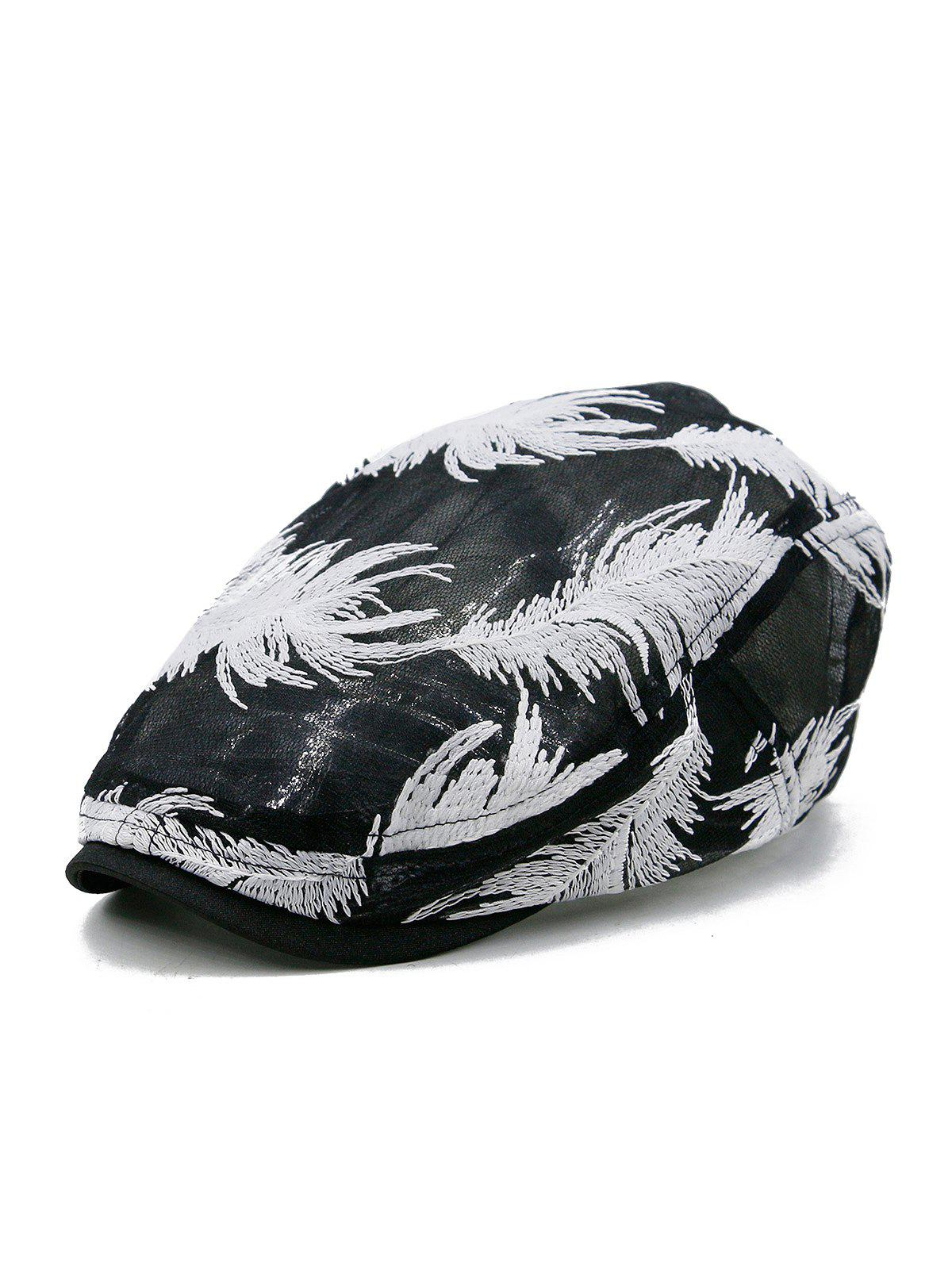 Unique Feather Decorated Newsboy Cap - BLACK