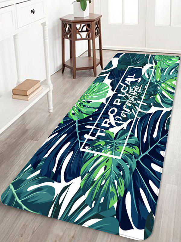 Tropical Leaf Jungle Printed Coral Fleece Floor Rug - JUNGLE GREEN W16 INCH * L47 INCH