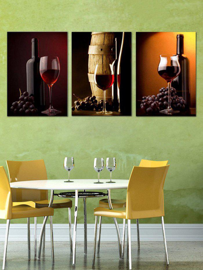 Red Wine Print Unframed Canvas Paintings - multicolor 3PC:12*18 INCH( NO FRAME )