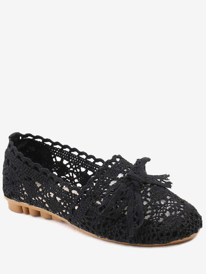 Bowknot Hollow Out Casual Working Flats - BLACK 37