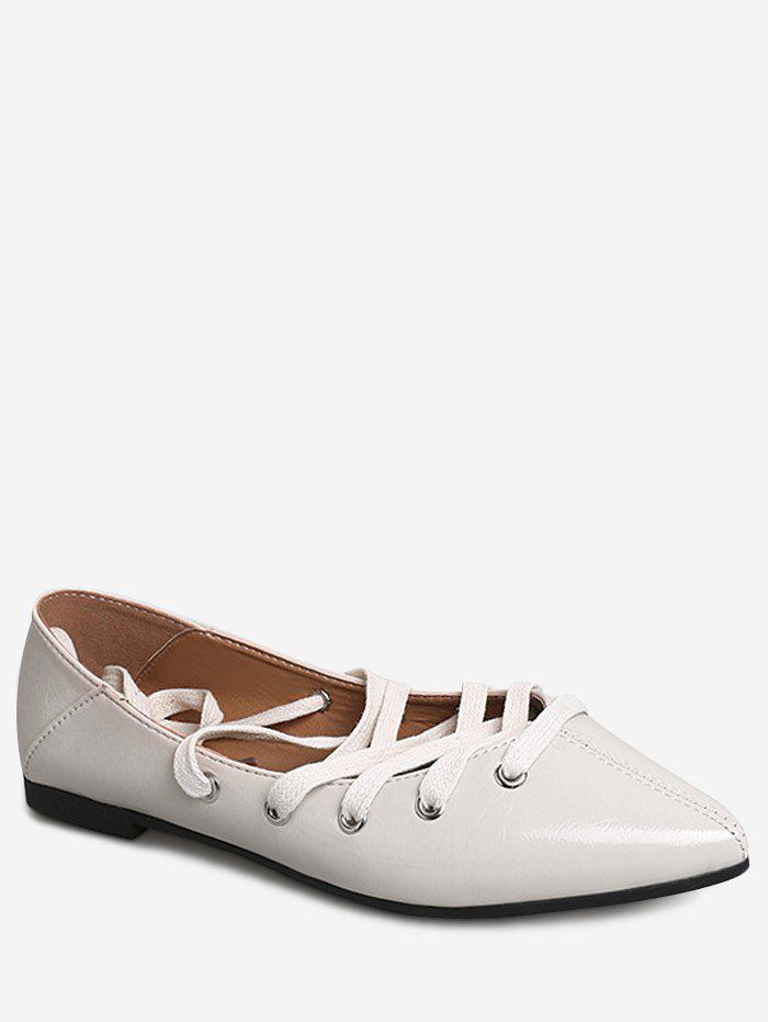 Casual Daily Crisscross Lace Up Flats - BEIGE 38