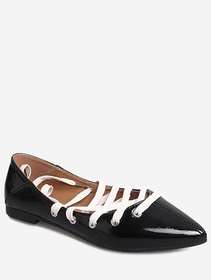 Casual Daily Crisscross Lace Up Flats - BLACK 38