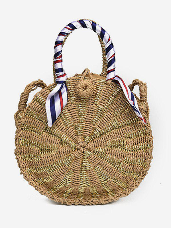 Straw Round Shaped Casual Outdoor Handbag - LIGHT KHAKI