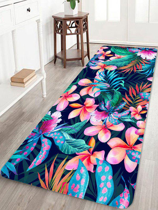 Flower Plant Printed Coral Fleece Floor Rug - HOT PINK W16 INCH * L47 INCH