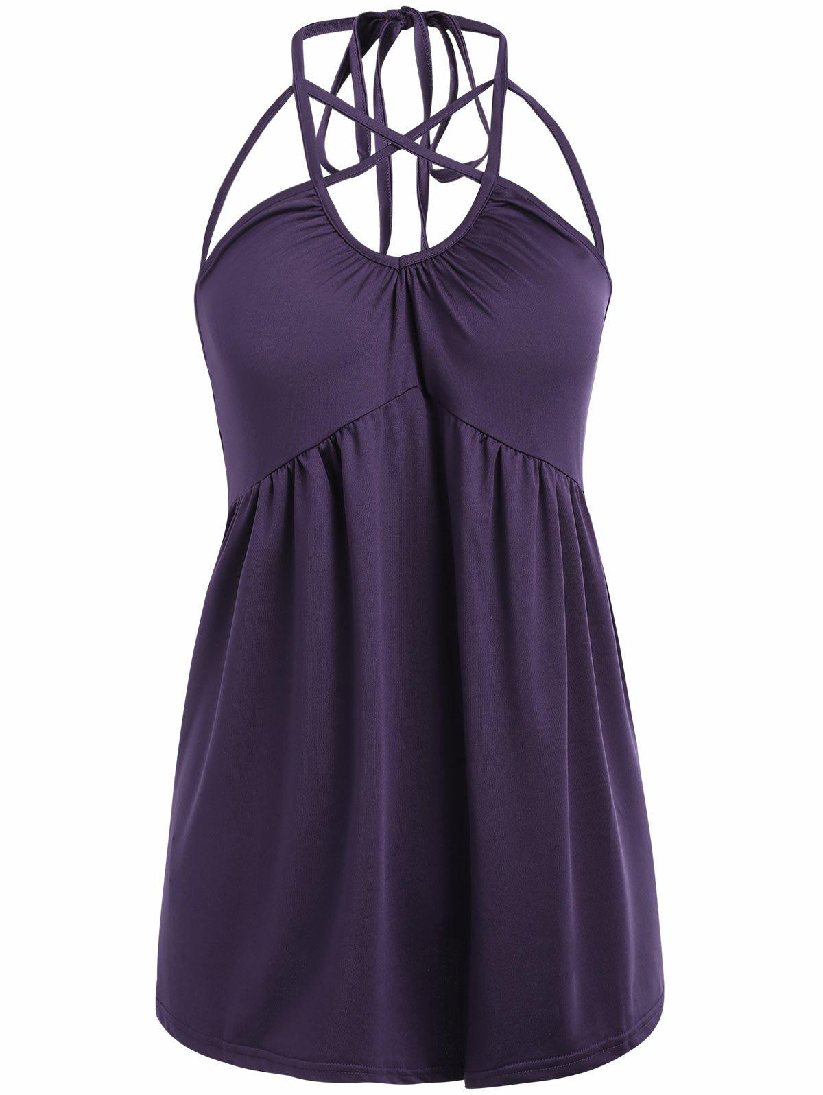 Strappy Sleeveless Halter Top - PLUM PURPLE S