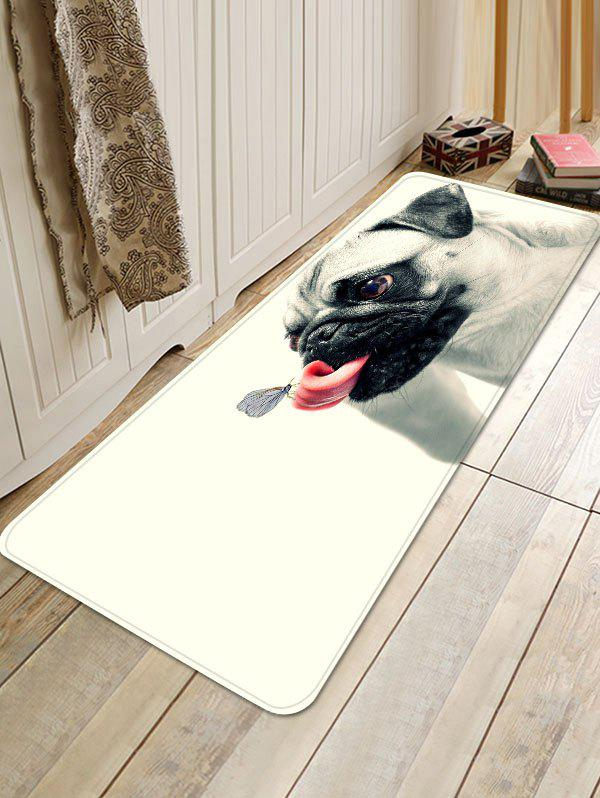 Butterfly on the Tongue of Dog Print Antiskid Floor Rug - WHITE W16 INCH * L47 INCH