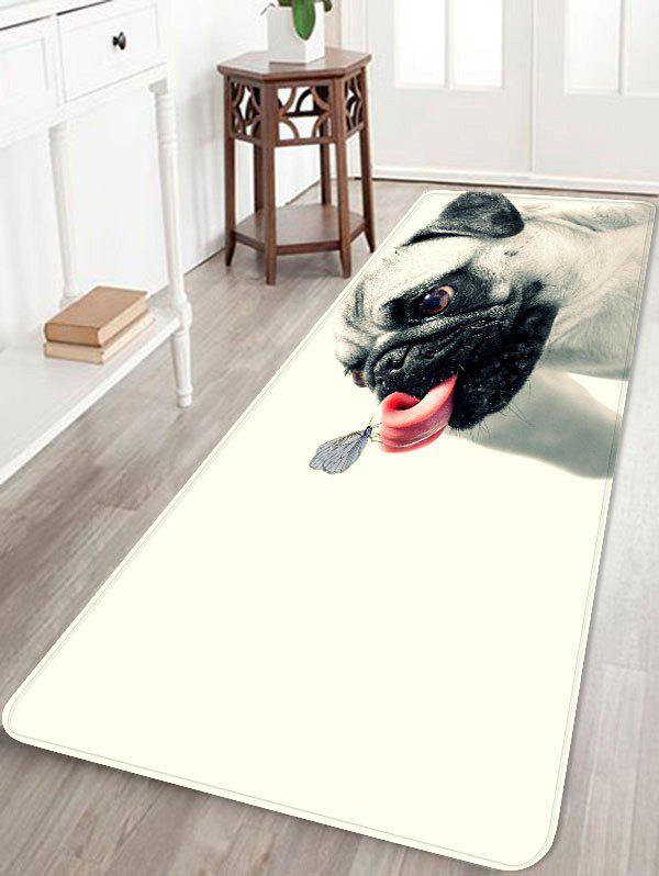 Butterfly on the Tongue of Dog Print Antiskid Floor Rug - WHITE W24 INCH * L71 INCH