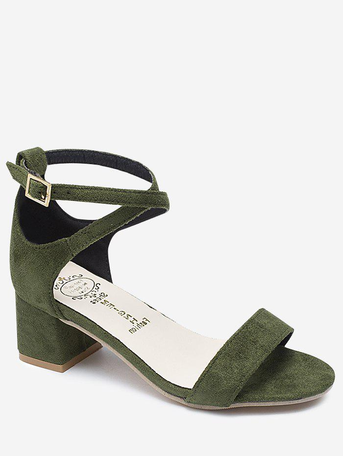 Chunky Heel One Strap Buckled Chic Sandals - ARMY GREEN 40