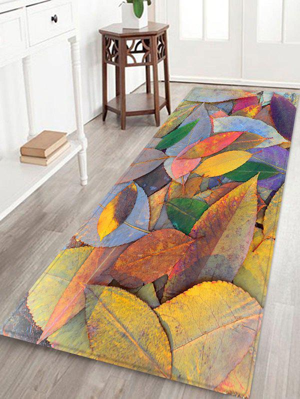 3D Falling Leaves Print Prevent Dirty Floor Rug - BEE YELLOW W16 INCH * L47 INCH