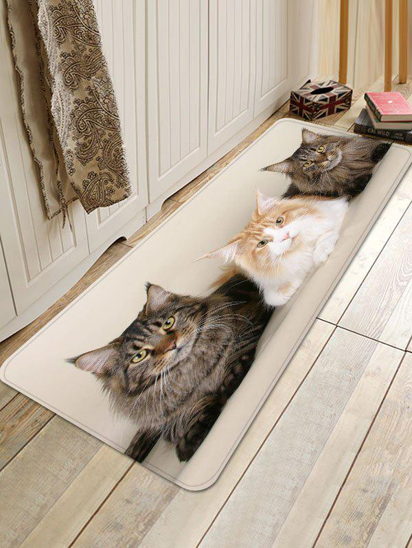 Three Cat Pattern Non Slip Foor Rug - WARM WHITE W16 INCH * L47 INCH