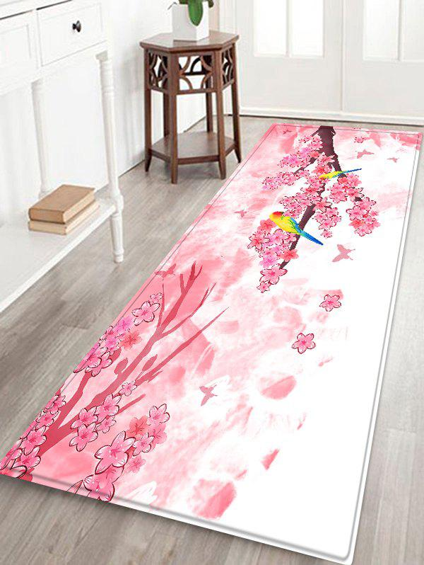 Uhommi Parrot Plum Blossom Print Bath Decor Floor Rug - LIGHT PINK W16 INCH * L47 INCH