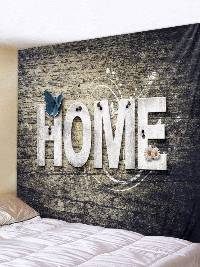 Home Wooden Butterfly Flower Tapestry Hanging Decor - TAUPE W79 INCH * L71 INCH