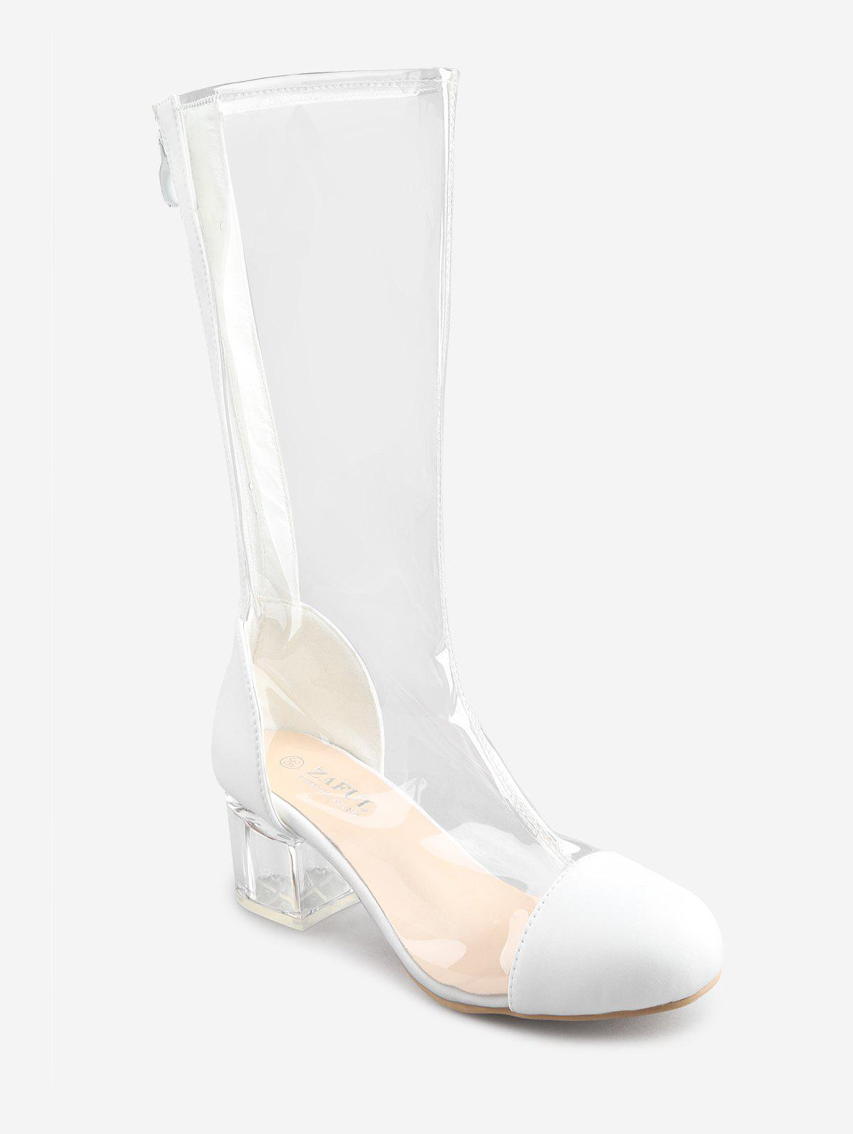 Transparent Block Heel Chic Mid Calf Boots - WHITE 38