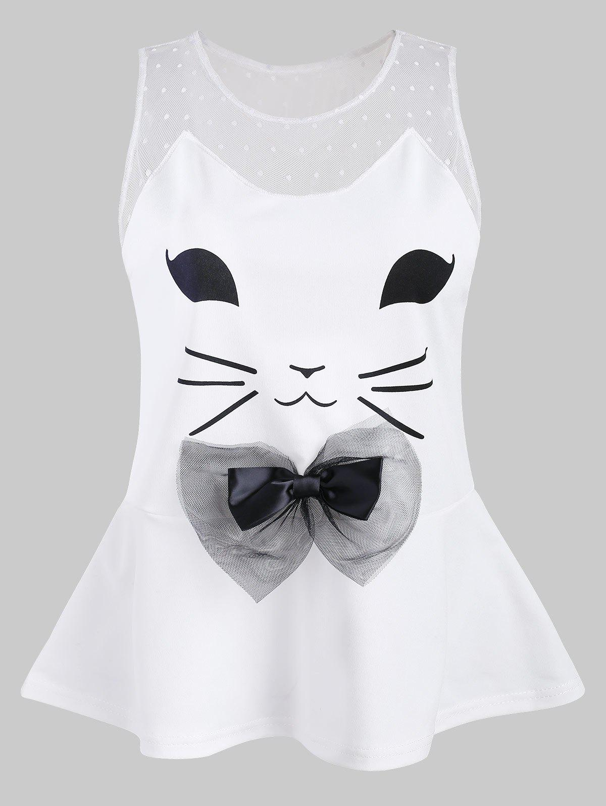 Cat Pattern Bowknot Embellished Tank Top - WHITE 2XL